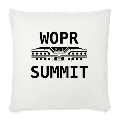 "WOPR Summit 0x0 Black Text Misc - Throw Pillow Cover 18"" x 18"""