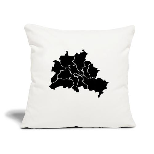 """Berlin map, districts - Throw Pillow Cover 17.5"""" x 17.5"""""""