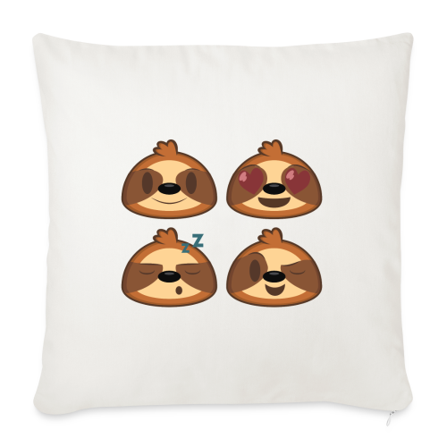 """Zac Shirk x TSI - Three-Toed Sloth Emojis - Throw Pillow Cover 18"""" x 18"""""""