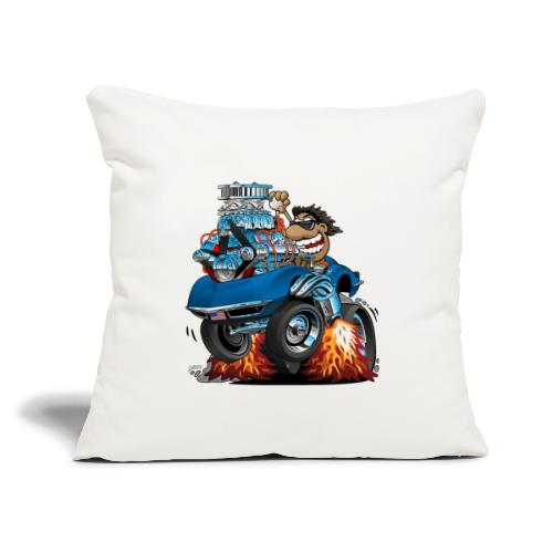 "Classic '69 American Sports Car Cartoon - Throw Pillow Cover 18"" x 18"""