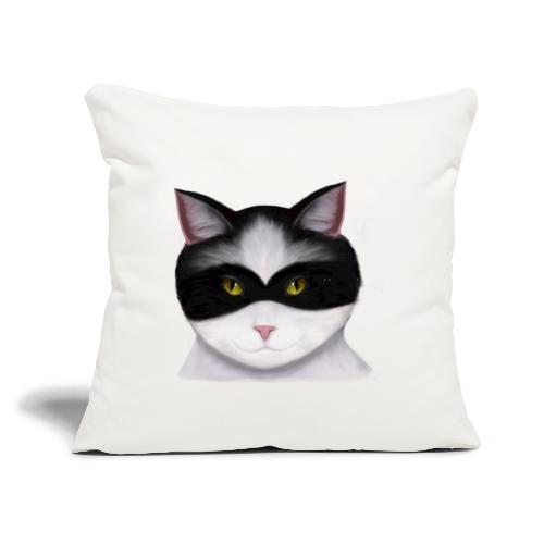 """I am called the Masked Cat - Throw Pillow Cover 17.5"""" x 17.5"""""""