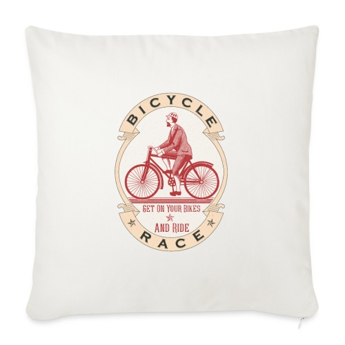 "Vintage Bicycle Racer - Throw Pillow Cover 17.5"" x 17.5"""