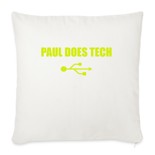 "Paul Does Tech Yellow Logo With USB (MERCH) - Throw Pillow Cover 18"" x 18"""
