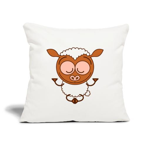"Brown sheep meditating in lotus pose - Throw Pillow Cover 18"" x 18"""