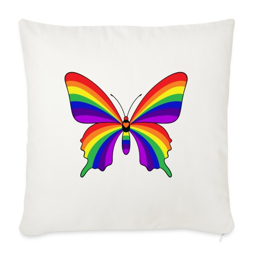 """Rainbow Butterfly - Throw Pillow Cover 17.5"""" x 17.5"""""""