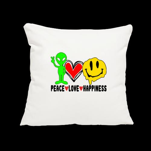 """Peace Love Happpiness - Throw Pillow Cover 17.5"""" x 17.5"""""""