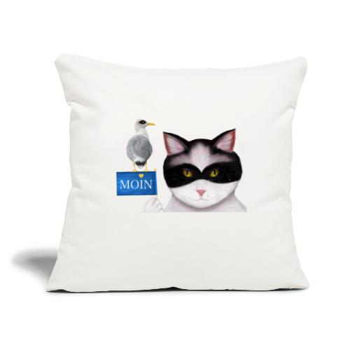 """The masked Cat says MOIN - Throw Pillow Cover 17.5"""" x 17.5"""""""