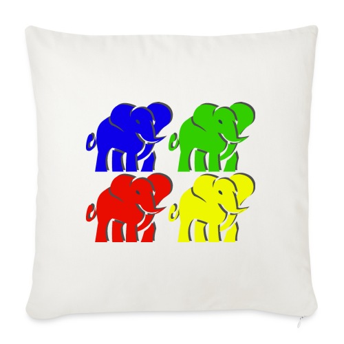 """colorful elephants - Throw Pillow Cover 18"""" x 18"""""""