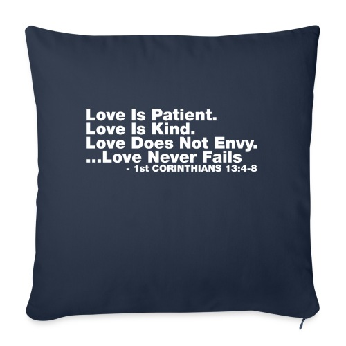 "Love Bible Verse - Throw Pillow Cover 18"" x 18"""