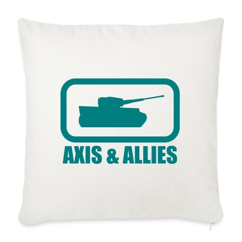 "Tank Logo with Axis & Allies text - Multi-color - Throw Pillow Cover 18"" x 18"""
