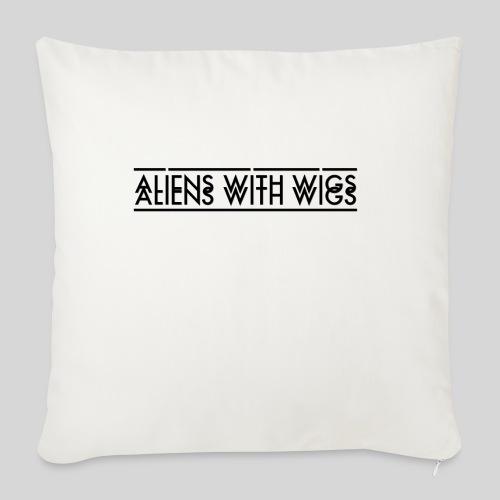 "AliensWithWigs-Logo-Noir - Throw Pillow Cover 17.5"" x 17.5"""