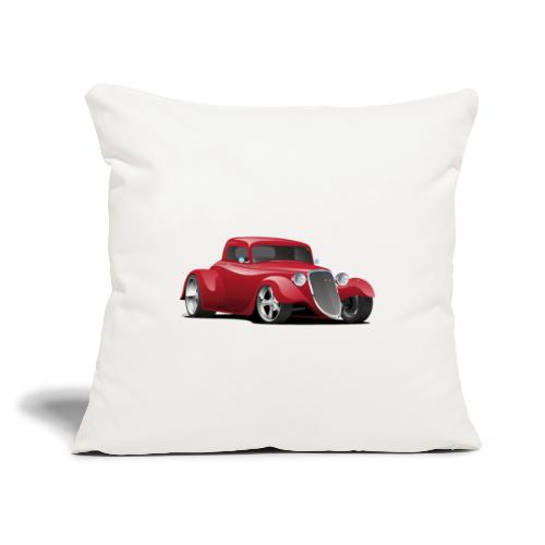 "Custom American Red Hot Rod Car - Throw Pillow Cover 17.5"" x 17.5"""
