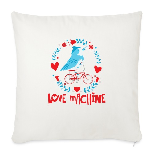 "Cute Love Machine Bird - Throw Pillow Cover 17.5"" x 17.5"""