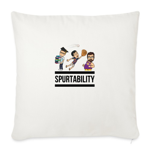 "Spurtability Black Text - Throw Pillow Cover 18"" x 18"""
