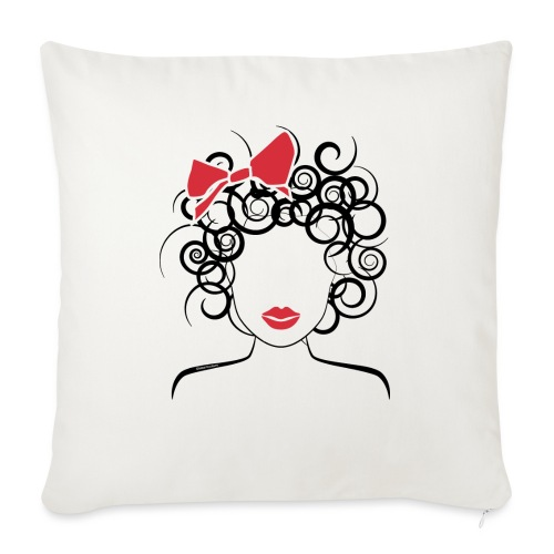 """Curly Girl with Red Bow_Global Couture_logo T-Shir - Throw Pillow Cover 18"""" x 18"""""""