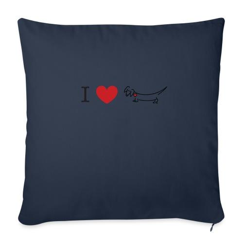 """I love Dachshund - Throw Pillow Cover 18"""" x 18"""""""