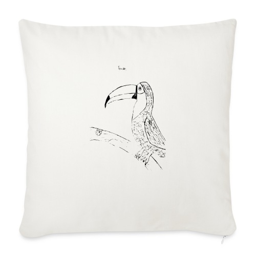 "Stephen's hand drawn Toucan - Throw Pillow Cover 18"" x 18"""