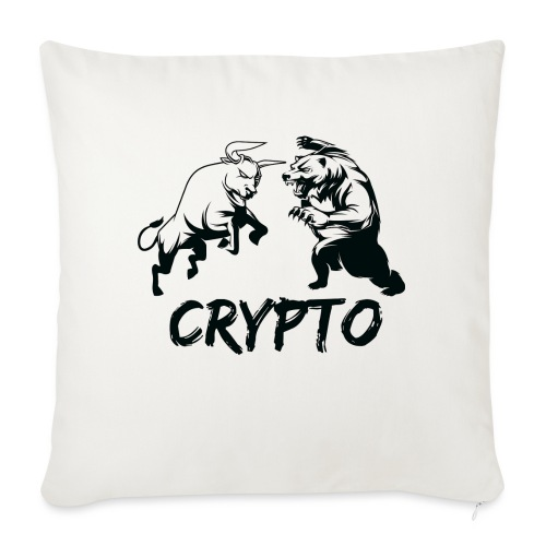 "CryptoBattle Black - Throw Pillow Cover 18"" x 18"""