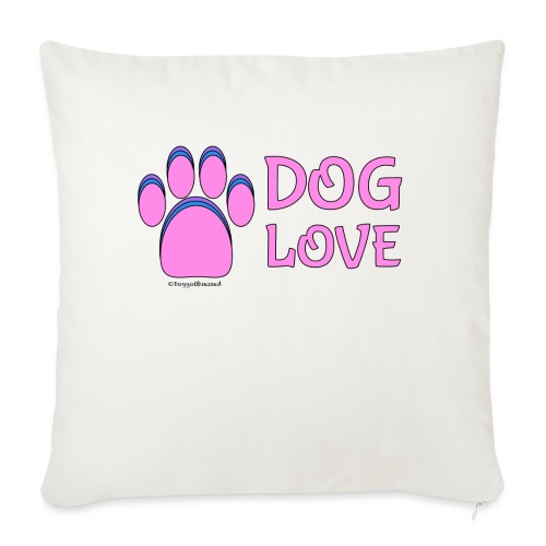 """Pink Dog paw print Dog Love - Throw Pillow Cover 17.5"""" x 17.5"""""""