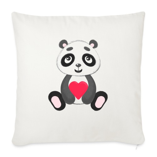 "Sweetheart Panda - Throw Pillow Cover 18"" x 18"""