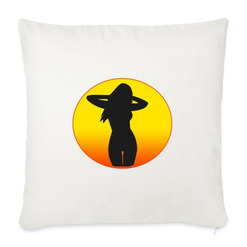 "sunset girl - Throw Pillow Cover 18"" x 18"""