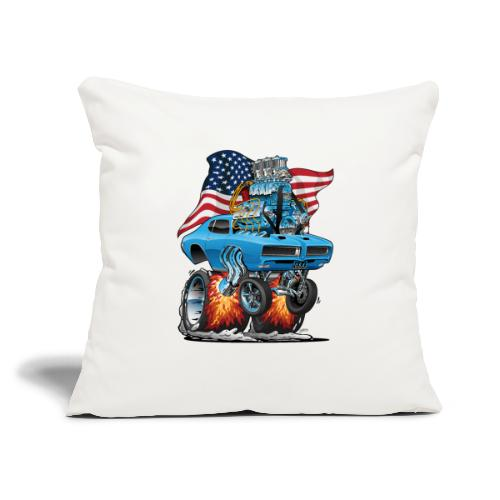 """Patriotic Sixties American Muscle Car with Flag - Throw Pillow Cover 17.5"""" x 17.5"""""""