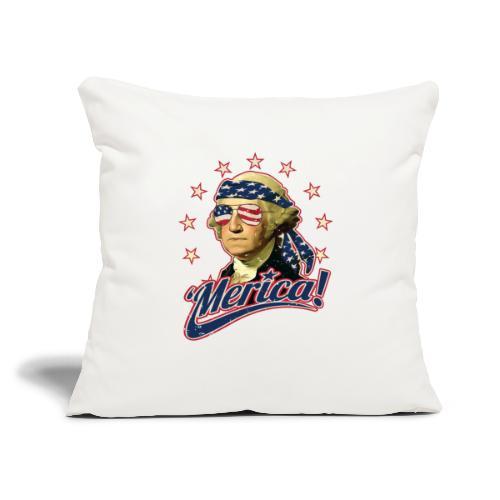 "Funny Patriotic President George Washington Merica - Throw Pillow Cover 17.5"" x 17.5"""