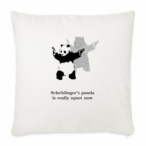 "Schrödinger's panda is really upset now - Throw Pillow Cover 18"" x 18"""