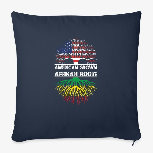 """American Grown With African Roots T-Shirt - Throw Pillow Cover 18"""" x 18"""""""