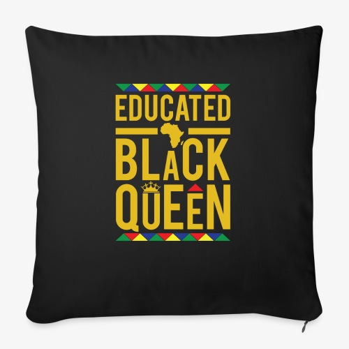 "Educated Black Queen - Throw Pillow Cover 18"" x 18"""
