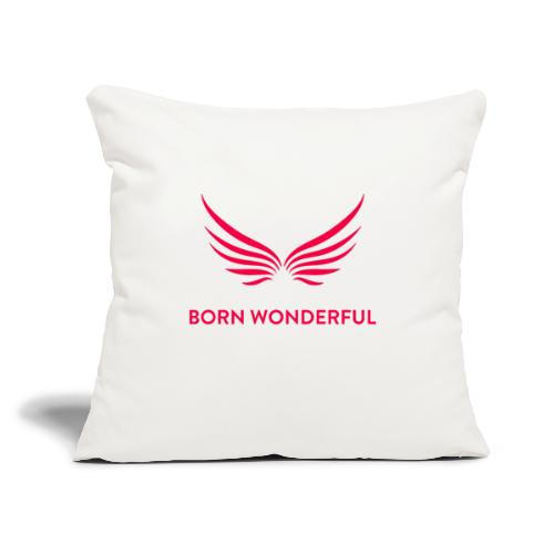 "Red Born Wonderful Logo - Throw Pillow Cover 18"" x 18"""