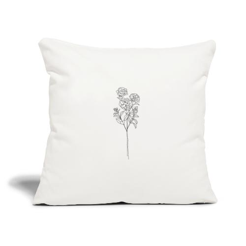 "Minimal Floral Line Art Print - Throw Pillow Cover 17.5"" x 17.5"""
