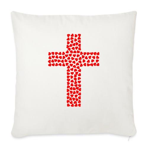 "Jesus Love heart cross - Throw Pillow Cover 18"" x 18"""