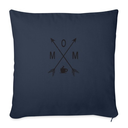 "Mom Loves Coffee (black ink) - Throw Pillow Cover 18"" x 18"""