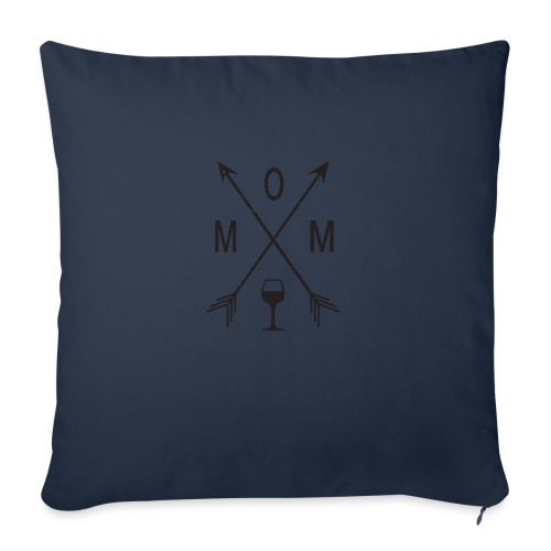 "Mom Loves Wine (black ink) - Throw Pillow Cover 18"" x 18"""