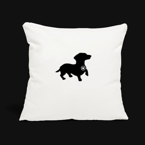"""Dachshund love silhouette black - Throw Pillow Cover 17.5"""" x 17.5"""""""