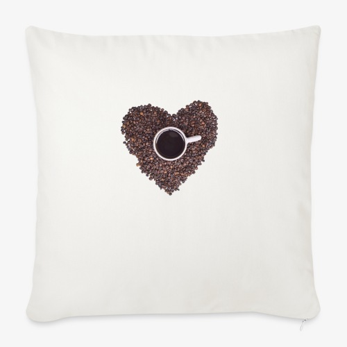 "I Heart Coffee Black/White Mug - Throw Pillow Cover 18"" x 18"""