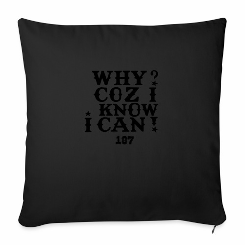 """Why Coz I Know I Can 187 Positive Affirmation Logo - Throw Pillow Cover 18"""" x 18"""""""