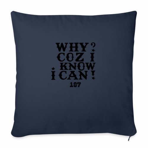 "Why Coz I Know I Can 187 Positive Affirmation Logo - Throw Pillow Cover 18"" x 18"""