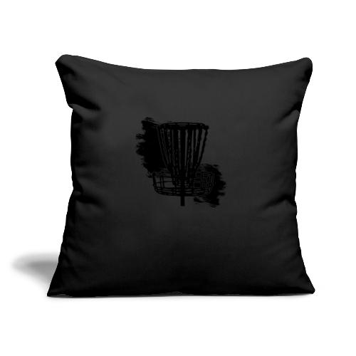 "Disc Golf Basket Paint Black Print - Throw Pillow Cover 18"" x 18"""