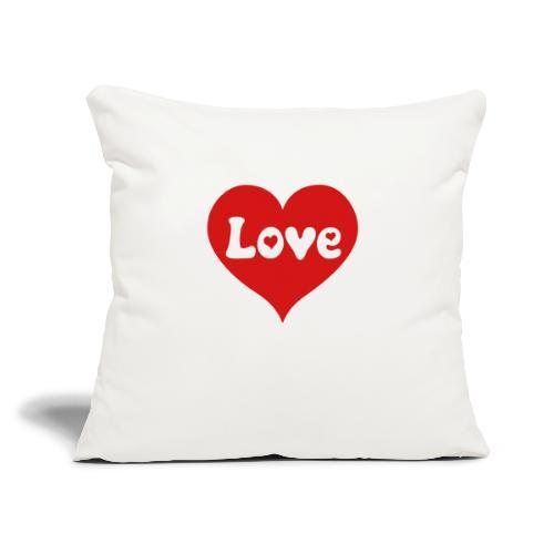 "Love Heart - Throw Pillow Cover 17.5"" x 17.5"""