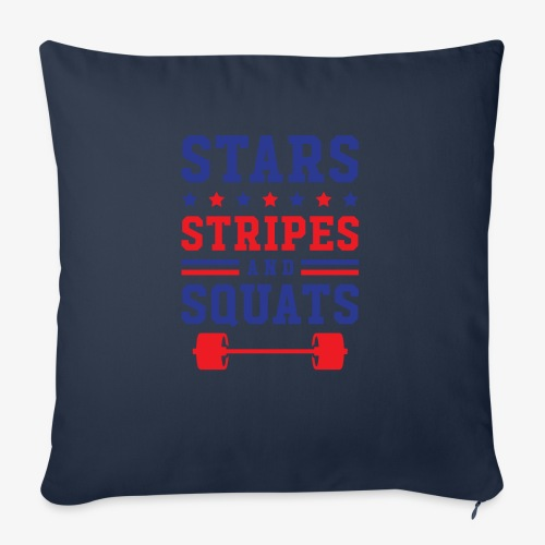 """Stars, Stripes And Squats - Throw Pillow Cover 18"""" x 18"""""""