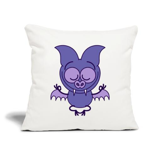 "Purple bat meditating in joyful mood - Throw Pillow Cover 18"" x 18"""
