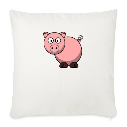 "Funny Pig T-Shirt - Throw Pillow Cover 18"" x 18"""