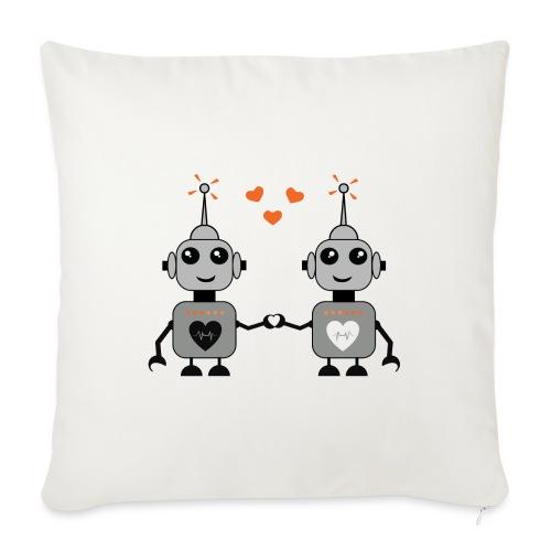 """Robot Couple - Throw Pillow Cover 17.5"""" x 17.5"""""""