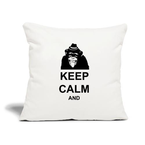 "KEEP CALM MONKEY CUSTOM TEXT - Throw Pillow Cover 17.5"" x 17.5"""