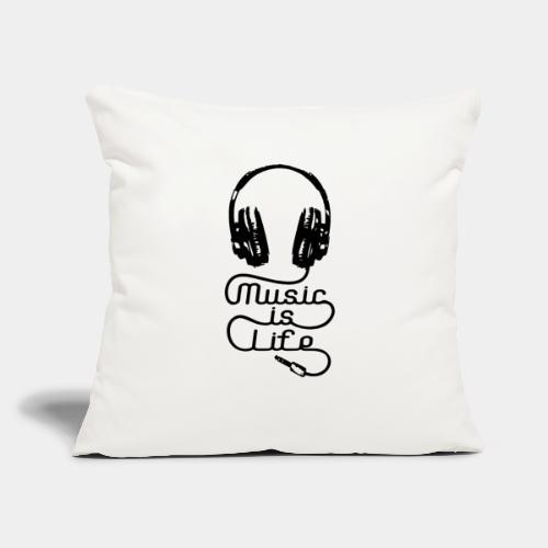 "musicislife - Throw Pillow Cover 18"" x 18"""