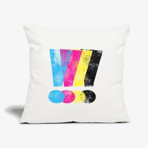 """Large Distressed CMYW Exclamation Points - Throw Pillow Cover 17.5"""" x 17.5"""""""