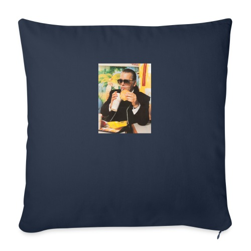 """Karl Lagerfeld Eating a McDonald's Cheeseburger - Throw Pillow Cover 18"""" x 18"""""""