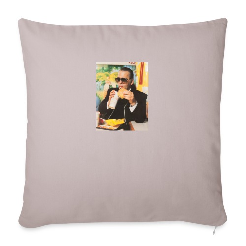 "Karl Lagerfeld Eating a McDonald's Cheeseburger - Throw Pillow Cover 18"" x 18"""